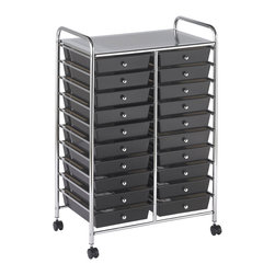 Ecr4kids - Ecr4Kids 20 Drawer Mobile Rolling Organizer Cart, Smoke - This practical organizer can hold just about everything from art and crafts projects to office supplies With its 20 drawers, its perfect for the classroom, home or office to consolidate multiple items into a single convenient location. Sturdy plastic drawers slide in and out easily and stay on track. Includes 6 casters (2 locking) for mobility. Style Notes Choose drawer color Assorted (AS), Smoke (SM), or White (WH). Colors may vary and are subject to change without notice.