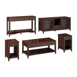"""kathy ireland Office - Grand Expressions Work-N-Play Set - Includes one coffee table, two end tables, one sofa table and one TV stand. Soft edges and rounded corners. Quick-to-Assemble technology reduces assembly time. Attractive antiqued pewter hardware. Meets American National Standards Institute (ANSI) and Underwriters Laboratories (UL) standards. Warranty: Three years. Hand applied warm molasses finish. Coffee table: . Rectangular shape. Protective top coat. One drawer for miscellaneous storage. Underneath open area storage. Drawer: 18.38 in. W x 12.5 in. D x 3.5 in. H. Overall: 47.17 in. W x 23.19 in. D x 20 in. H. End table: . Rectangular shape. Protective top coat. One drawer for miscellaneous storage. Underneath open area storage. Drawer: 9.5 in. W x 16 in. D x 3.5 in. H. Overall: 15.38 in. W x 18.75 in. D x 25 in. H. Sofa table: . Rectangular shape. Protective top coat. Can be used as workstation. Center drawer accommodates computer laptop. Bottom shelf houses books, binders and storage bins. Integrated wire management helps keeping work area neat and organized. Drawer: 18.38 in. W x 12.5 in. D x 3.5 in. H. Overall: 47.25 in. W x 15.38 in. D x 30 in. H. TV stand: . Includes StaBilibar TV safety brace. One drawer for miscellaneous storage. Two open shelves in center for electronic components and general storage. Two textured glass doors protects storage compartment. Two shelves behind each accommodates media storage bins. Soft close hinges. Accommodates flat-panel TVs upto 60 in. and 117 lbs.. Drawer: 12.75 in. W x 16 in. D x 5.13 in. H. Center space: 14.25 in. W x 19.38 in. D x 11.75 in. H. Inner shelves: 19.25 in. W x 18 in. D x 19.38 in. H. Overall: 57.75 in. W x 19.88 in. D x 24.63 in. HOur Grand Expressions Collection was born out of the rich history and cultural diversity of America. The timeless styling, functionality, ingenious safety features and New World allure of the Grand Expressions collection will bring out the best in any room.""""QTA"""" Quick to """