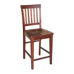 Wooden Imports Furniture - Vernon Chair w Wood Seat in Mahogany Finish - Set of 2. 100% Solid Parawood. Environmentally conscious. 18 in. W x 18 in. D x 42 in. H (19.5 lbs.)