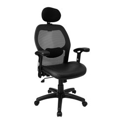 Flash Furniture - Headrest Mesh Chair w Nylon Base and Italian - Lumbar support meets textured luxury with this functional, comfortable office chair. Supple Italian leather upholstered seat and mesh back supply plenty of support, while adjustable height & tilt control lets you adjust chair to your liking. Wheeled chair also has headrest. Thick padded contoured leather seat and mesh back with lumbar support. Pneumatic seat height adjustment. Height adjustable lower lumbar support. Tension adjustable lumbar support. Locking tilt control mechanism. Tension control. Headrest. Height adjustable arms with padded armrests. Heavy duty nylon base with dual wheel casters. Seat: 20�_ in. W x 19�_ in. D. Back: 20 in. W x 25 in. H. Seat Height: 18 in. - 22 in. H. Overall Height: 41.9 in. - 48.2 in. H