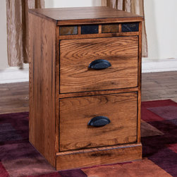 "Sunny Designs - Sedona File Cabinet - Sedona File Cabinet; Distressed Oak Solids and Veneers; Natural African Slate; Weight: 65.12 lbs; Dimensions:18.5""W x 20""D"
