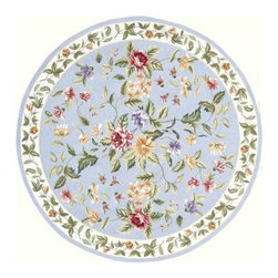 Momeni - Round Blue Wildflower Print Hand-Hooked Wool Rug - Spencer SP-16 - 7.0 ft. in diameter. Hand hooked. 100% Wool. Care InstructionSpencer is a casual collection of hand-hooked rugs featuring soft floral, country, and contemporary designs. Made in China of 100% wool.