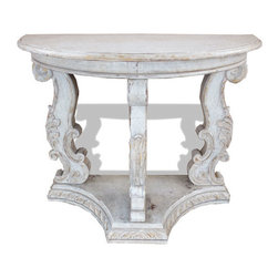 Koenig Collection - Mediterranean Old World Console Romana, Weathered Creams - Romana Console, Weathered Creams, Gray, and Gold Leaf