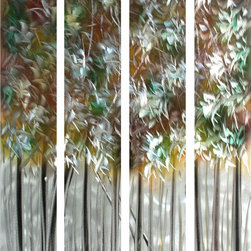 Pure Art - Electrifying Tree Tops Hand-Painted Aluminum Wall Hanging Set of 4 - Inspire your imaginative side to choose between sunrise and sunset as you look into the Electrifying Tree Tops Hand-Painted Aluminum Wall Hanging Set of 4. This inspirational metal wall art design is perfect to allure the eye in your guest area or secluded hide away. Capture a sense of charisma and individuality when you include this amazing art work in your collection of fabulous pieces. Make a statement of grand wealthy desires by displaying in pride this splendid piece. Nearly any decorative or vibrant color scheme will blend and flow well with the expert lines in this artful creation.Made with top grade aluminum material and handcrafted with the use of special colors, it is a very appealing piece that sticks out with its genuine glow. Easy to hang and clean.