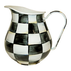 Courtly Check Enamel Pitcher   MacKenzie-Childs - For ice water, fresh-squeezed lemonade or a refreshing punch, our Courtly Check® Enamel Pitcher dresses up the bar or dinner table. Makes a great gift paired with a basket of fresh fruit and a bottle of red wine for a stylish sangria, or fill with late August sunflowers to add a cheerful warmth to your kitchen. With a subtle jewel-tone palette woven by an artisan's brush through the glossy, hand-painted, high-contrast checks, we've yet to find a color (or food!) that doesn't look good with Courtly Check®.