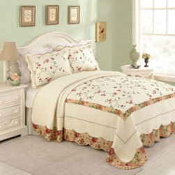 Peking Handicraft Inc. - Sylvia Bedspread - Floral vines gracefully dance across this traditional embroidered bedspread in romantic shades of coral and spicy red tones. Lush vermicelli quilting gives this bedding a luxurious presentation, while eyelet lace borders frame it in elegance.