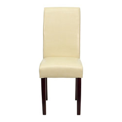 Flash Furniture - Ivory Leather Upholstered Parsons Chair - This Leather Parsons Chair will add contemporary sophistication to your dining room or living room. This chair can be used as an accent chair around the home when giving your home a more decorative appeal. The European designed side chair features ivory leather upholstery, while the frame and legs are constructed of solid wood.