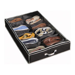 Richards Homewares - Richards Homewares Black and grey Gearbox Storage Caddy 16-pocket Underbed Chest - Perfect for storing and protecting up to 16 pairs of shoes,this handy storage chest from Richards Homewares is perfect for utilizing underused space under the bed for the perfect water-resistant organizational shoe storage unit.