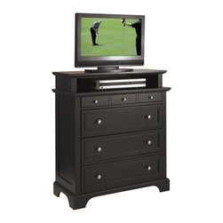 Home Styles - Home Styles Bedford TV Media Chest in Black Finish - Home Styles - TV Stands - 5531041 - Home Styles Bedford Media Chest is constructed of hardwoods and engineered wood in a rich ebony finish. Features include four large drawers. Top drawer measures 28w 13d 2h the remaining drawers measure 28w 13d 6 __ h. Item measures: 36w 16.5d 42h. Brushed Nickel Hardware.
