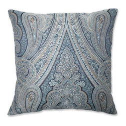 Pillow Perfect - Royal Paisley Blue 23-Inch Square Floor Pillow - - Blues, beige and white hues weave together to create this exquisitely detailed paisley-printed throw pillow. Paisley has long stood as a timeless pattern and this color-fasted print will stand the test of time. Elegantly designed and well crafted, this crisp polyester pillow is the perfect stylish accent to your living decor  - Cover Material: 100 percent Polyester  - Fill Material: Plush Filling - 100 percent Polyester Fiber  - Measures: 23-Inches H X 23-Inches W X 5-Inches D  - Knife Edge and Sewn Seam Closure  - Spot Clean Only  - Made in the USA Pillow Perfect - 556833
