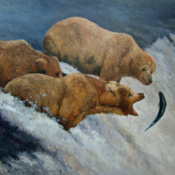 Time For Salmon (Original) by Kanayo Ede - Oil on canvas painting of three brown bears at a waterfall fishing for salmon. This painting is not stretched. it will come in a canvas roll shipped in a tube.