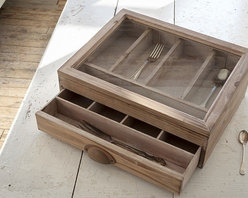 Large Wood & Glass Notion Box - Our exquisite notion box is perfect for displaying and safe keeping any of your precious collection. With a beautiful distressed finish, a glass top, and a very practical drawer, this notion box is sooo cute we're afraid it might tempt the weak at heart!