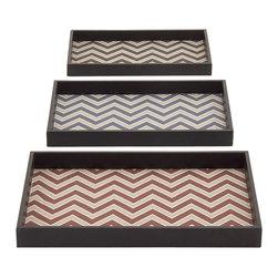 Fashionable and Stunning Wood Vinyl Trays, Set of 3 - Description: