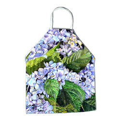 Caroline's Treasures - Hydrangea Apron - Apron, Bib Style, 27 in H x 31 in W; 100 percent  Ultra Spun Poly, White, braided nylon tie straps, sewn cloth neckband. These bib style aprons are not just for cooking - they are also great for cleaning, gardening, art projects, and other activities, too!