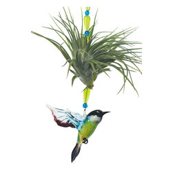 Spirit Pieces - Tillandsia Air Plant with Murano Glass Flycatcher - Great Birthday Gift for Mom - A lovely addition to any inside or outside local, this Tillandsia air plant comes with a beautiful hand-made glass flycatcher and is accented with crystal beads.  This is the perfect gift for anyone who likes plants.  Hang it in the kitchen window or for bedroom decor.  Mist daily.  Makes a perfect bird themed gift.