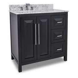 Hardware Resources - VAN101-36-T Jeffrey Alexander Vanity with Preassembled Top and Bowl in Black - Jeffrey Alexander Vanity with Preassembled Top and Bowl by Hardware Resources