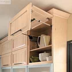 KraftMaid: Wall Lateral Bi-Fold Cabinet - Offers full access to the adjustable shelves within and remains in position after opening.