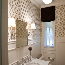 For the Home / Classic bath with trellis paper, marble, nickel sconces, and Thom