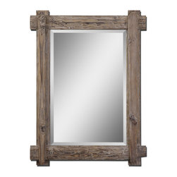 Uttermost - Claudio Rustic Distressed Wood Mirror with Beveled Glass, 29x39 - A  mission  style  rustic  wood  mirror  with  a  little  bit  of  formal  flare,  the  Claudio  features  wood  in  a  light  walnut  stain  with  burnished  edges.  a  wide  1-1/2  inch  bevel  in  the  mirror  glass  creates  extra  style  and  presence.  This  classic  wooden  rustic  design  is  a  great  addition  to  any  western  or  southwestern  space.