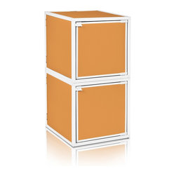 Way Basics - BOX (2 cubes), Orange - Box will easily stack, connect and align to create your perfect organizer! Form a 2-tiered nightstand or a side by side double cubby and accessorize with a door to hide that inevitable clutter. The simple, modern design of the Bo will complement and adorn any room.