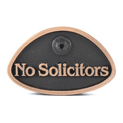 "Atlas Signs and Plaques - No Solicitors Dammit!, Bronze, Raised - This little sign packs a big punch!  Available in 9 different finishes, so there's sure to be one to match your exterior.  Size is about 3"" x 3"" x 1"" thick and comes with a matching t-30 screw to make hanging a breeze."