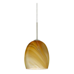 "Besa Lighting - Besa Lighting 1JC-1697HN Lucia 1 Light Cord-Hung Mini Pendant - The Lucia is a curvy bell-bottomed shape, that fits nicely into any contemporary design. This unique decor is handcrafted, with layered swirls of yellow-amber and golden-brown against white, finished to a high gloss. It's classic swirl pattern and high gloss surface has a truly florid gleam. Honey is a hand-blown glass designed to have a shiny and polished finish. The glass is gathered and rolled into shape a unique pattern is formed that cannot be replicated. This blown glass is handcrafted by a skilled artisan, utilizing century-old techniques passed down from generation to generation. Each piece of this decor has its own unique artistic nature that can be individually appreciated. The cord pendant fixture is equipped with a 10' SVT cordset and an ""Easy Install"" dome monopoint canopy.Features:"