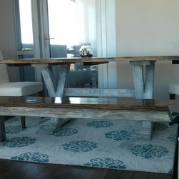 6ft trestle dining table - 6ft trestle dining table in dark walnut stain and antique white paint. Built by hand from solid wood.