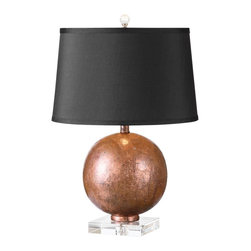 Uttermost - Uttermost Armel Oxidized Copper Sphere Table Lamp - Add a warm glimmer of copper to the dcor with this contemporary round table lamp from Uttermost. A classic round table lamp gets special treatment in this design by David Frisch for Uttermost. Oxidized copper sheeting is layered over wood to create a stunning effect. The warm copper sphere is accented with the contrasting textures of a crystal foot. A lightly slubbed black linen shade completes the look. Add this table lamp singly or in pairs to any room to create a stunning design upgrade.