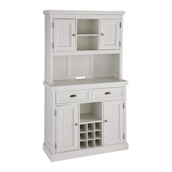 HomeStyles - Distressed White Buffet and Hutch - Give your home a cozy, inviting atmosphere with the Nantucket Buffet and Hutch. It's sanded worn edges and distressed white finish provides the casual elegance that's great for any home decor style. The Nantucket Buffet is constructed of hardwood solids and engineered wood. Finishing process includes paint specking on the sanded and distressed white finish providing a weathered look. Features include two cabinet doors each containing an adjustable shelf, removable wine rack, one fixed shelf, and two storage drawers. The hutch features an open storage area, two cabinet doors, two shelves (one adjustable), and cable access. Beautifully accented with antiqued brushed nickel hardware. 42 in. W x 16.75 in. D x 73 in. H