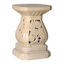 Kathy Kuo Home - Four Seasons Antique White  Pierced Ceramic Garden Seat Stool - Traditionally used in China as tea tables- these garden stools make a perfect addition to your living space as side tables, or clustered together to be used as a coffee table.  Glazes are triple fired for added luster and shine.  With a hand made product, glaze variations of up to 10% is to be expected.