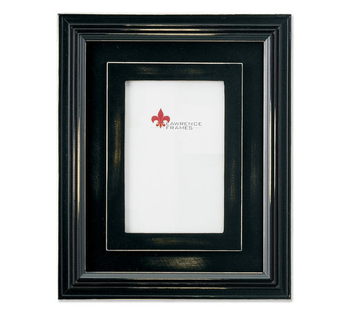"""Lawrence Frames - Dimensional Rustic Black Wood 4x6 Picture Frame - Wide multi dimensional distressed black wood frame. The molding of this frame is 2.5"""" wide making it quite impressive. High quality black painted masonite backing including an easel for vertical or horizontal table top display and hangers for wall mounting. Individually boxed."""
