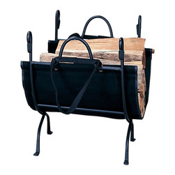 """Uniflame - Log Holder in Wrought Iron - Place this very simple log holder on your hearth to hold all of the logs that you will place on the fire tonight.  This not only will keep your hearth well organized and clean, but will also decorate it beautifully.  Match this great log rack with a black wrought iron fire screen and fire tools and you will have a very dramatic fireplace that friends and family will compliment you on.  Almost everyone loves a wood burning fireplace, but nearly no one loves the mess and disorganization that can come with trying to prepare for such a fire.  What can we say, fire wood just looks better in this wrought iron holder. * Wrought Iron Construction. 18"""" H x 23"""" W. 12.3lbs"""