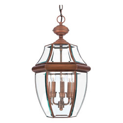 Quoizel - Quoizel NY1179AC Newbury Traditional Outdoor Hanging Lantern - When it comes to curb appeal, outdoor lighting plays a large part in creating a special ambiance.  The classic design and beveled glass of the Newbury gives the outside of your home a rich elegance, without making it look overembellished.  It's a versatile look that coordinates with most any architectural style.