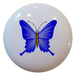 Carolina Hardware and Decor, LLC - Blue Butterfly Ceramic Knob - New 1 1/2 inch ceramic cabinet, drawer, or furniture knob with mounting hardware included. Also works great in a bathroom or on bi-fold closet doors (may require longer screws).  Item can be wiped clean with a soft damp cloth.  Great addition and nice finishing touch to any room!