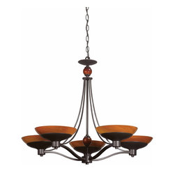 Triarch - Triarch Halogen Vi Chandelier X-ZB-56492 - Halogen VI - Beautiful Hand-Blown Amber Art glass, set in to warm Oil-Rubbed Bronze, is the key to this stunning look.