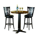 """Hillsdale Furniture - Hillsdale Dynamic Designs 36x36 Pub Table in Black - Who says fabulous designer looks come only at designer prices? the Hillsdale furniture Dynamic Designs bistro collection offers any home owner the opportunity to add style to their homes with out breaking the bank. The 36"""" diameter table is available  in either all brown cherry finish or in a two-toned brown cherry top with black base, lending itself to a myriad of looks as you choose the matching swivel stool that will best suit your home."""