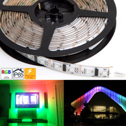 WSDC-RGB150xx series Dream-Color Flexible RGB LED Strip Lights - Dynamic color chasing, sequencing, changing, and also static color modes available on the WSDC series Dream-Color Controller and RGB Strip. Features unique sequencing modes in addition to the capabilities of our RGB strips, individully addressable LEDs allow for sequencing modes. Flexible Light Strips 5 Meter (16.45ft) long with 150 High Power SMD RGB LEDs (50 ICs) - 12 VDC Operation - Includes mating wire connectors on both sides of strip for end to end connection and 3M adhesive backing. Uses TM1803 controller IC.