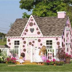 Little Cottage - Little Cottage 8 x 10 Victorian Wood Playhouse Multicolor - 8X10VICTORIAN W/O FL - Shop for Tents and Playhouses from Hayneedle.com! The Little Cottage 8x10 Wood Victorian Playhouse is a creative beautiful way to inspire imaginative play and hours of fun for your youngster. This truly elegant high-quality playhouse is built to last for years in your backyard and it's constructed with superior materials and an eye-catching Victorian style that you'll love. Your child will grow up with fond memories of times spent in this unique playhouse. Constructed from LP Smart Side which is a popular building material due to its durability resistance to weather and its low environmental impact this house is built to withstand the elements. Treated with SmartGuard which uses zinc borates to resist rot and mold LP Smart Side is an incredibly strong and safe alternative to typical materials that ensures years of enjoyment from your playhouse. Thanks to the durability of this material LP offers a 50-year limited warranty. Your playhouse arrives to you in a convenient ready-to-assemble kit complete with full-color downloadable instructions. It is available in your choice of configurations based on availability. Please note that if you choose an option without the floor kit then you must provide the materials for an interior floor. The playhouse shown in the photo above includes all available options (floor kit chimney loft and deck with rail). Your house comes complete with 2x3 wood wall framing 2x4 wood trusses high-quality siding and trim (which is pre-fastened to wall panels) panelized pre-cut wall sections pre-fastened gingerbread trim two flowerboxes and two working Plexiglass windows measuring 14 x 21 inches each. The windows include safety glass aluminum grids and screens. Also included are shutters one painted heart-shaped Plexiglass window and all assembly hardware as well as white aluminum exterior corner trim. All trim and siding is pre-primed and ready for