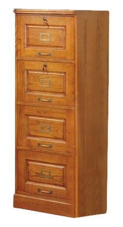 """Coaster - 4 Drawer File (Oak) By Coaster - Traditional style. Four drawers. Two locks. Antiqued brass finish hardware. Made from hardwood solids and veneers. 22.25 """" W x 19 """" D x 54.5 """" H.  Tired of home offices that offer storage at the expense of your workspace? This file cabinet provides plenty of out of sight storage without sacrificing an inch of your desk's surface. A convenient lock keeps sensitive documents safely locked away until you need them and hardware adds just a hint of shine."""