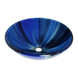 Polaris Sinks - P726 Blue Sky Glass Vessel Bathroom Sink - P726 Polaris Blue Sky Glass Vessel Bathroom Sink
