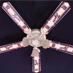 Ceiling Fan Designers MLB Baseball Indoor Ceiling Fan - Perfect in the game room, or MLB fan's bedroom, the Ceiling Fan Designers MLB Baseball Indoor Ceiling Fan is a fan's fan. This ceiling fan and light kit combo comes in your choice of Major League Baseball team. You also get to choose the size: 42-inch with 4 blades or 52-inch with 5. The blades are reversible so if you ever want to change from your MLB team's design to classic white, that's no problem. This ceiling fan has a powerful yet quiet 120-volt, 3-speed motor with easy switch for year-round comfort. The 42-inch fan includes a schoolhouse-style white glass shade and requires one 60-watt candelabra bulb (not included). The 52-inch fan has three alabaster glass shades and requires three 60-watt candelabra bulbs (included). Your ceiling fan includes a 15- to 30-year manufacturer's warranty (based on size). It is not an officially licensed product. Licensed products were used as decorations. Batter's up!