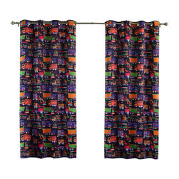 "Best Home Fashion - Trucks Room Darkening Grommet Top Curtain - 1 Pair, Navy, 84"" L - These fun trucks will surely put a smile on your child's face."