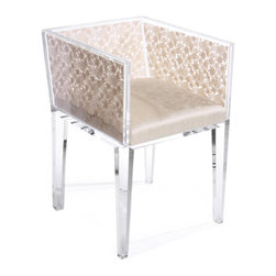Natural Floral Lace Chair - This lucite and lace chair has been on my radar for years. I love the feminine lines and the upholstery; it's like a little gem.