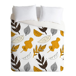 DENY Designs - Mummysam Fall Leaves Duvet Cover - Turn your basic, boring down comforter into the super stylish focal point of your bedroom. Our Luxe Duvet is made from a heavy-weight luxurious woven polyester with a 50% cotton/50% polyester cream bottom. It also includes a hidden zipper with interior corner ties to secure your comforter. it's comfy, fade-resistant, and custom printed for each and every customer.