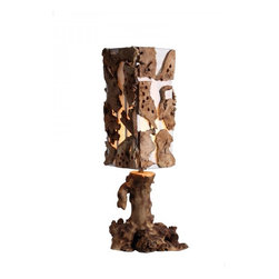 ParrotUncle - Country Style Handmade Driftwood Decorative Table Lamp - This Rustic desk lamp is made of natural wood root as base. The fabric shade is around with sevral pieces of driftwood as decoration. It is the right lights and décor for your home.