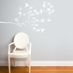 RR - On Sale Birds & Buds in White Wall Decal - Birds & Buds in White Wall Decal