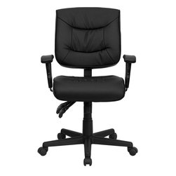 Flash Furniture - Mid-Back Black Leather Multi-Functional Task Chair with Height Adjustable Arms - This multi-functional leather chair features everything needed to experience comfortable seating. Chair provides good lumbar support and several adjustable mechanisms to discover your perfect sitting position. This sturdy chair is sure to last throughout the years providing you as much comfort as the first day you sat in it!