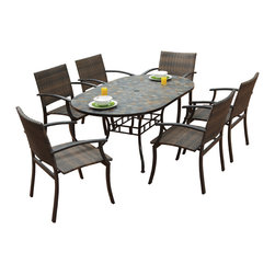 None - Stone Harbor Oval Dining Table and Newport Arm Chairs 7-piece Outdoor Dining Set - Eat outside in style with this handy outdoor dining set, which includes an oval table and six chairs. The table has an umbrella hole opening, giving you the option to add shade. The chairs are weather-resistant, so you dont have to bring them inside.