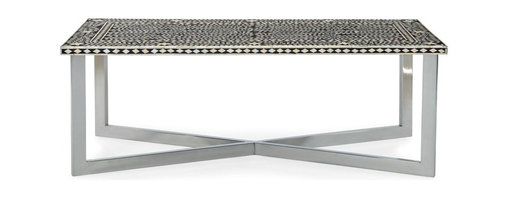 Mortise & Tenon - Palma Bone Inlay Cocktail Table - Forget piling magazines and remotes on this work of art. Fight to keep this table clutter-free so you can delight in the gorgeous pattern of the mosaic bone inlay. This decorative table is a showstopper in any home.