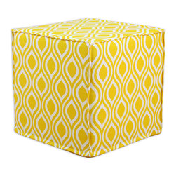 """Chooty - Chooty Nichole Corn Collection 17"""" Square Seamed Foam Ottoman - Insert 100 High Density Foam, Fabric Content 100 Cotton, Color Yellow, White, Hassock 1"""